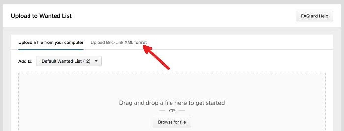 Bricklink upload to wanted list